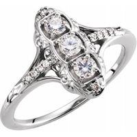 14K White 1/3 CTW Diamond 3-Stone Ring