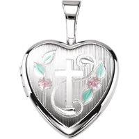 Sterling Silver Cross Heart Locket with Epoxy