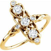 14K Yellow 1/5 CTW Three-Stone Diamond Ring