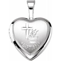 Sterling Silver 12.5x12 mm Baptism Heart Locket