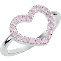 Sterling Silver 1.75 mm Round Pink Cubic Zirconia Heart Ring