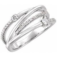 Platinum 1/4 CTW Diamond Criss-Cross Ring