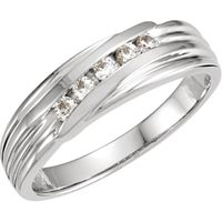 14K White 1/4 CTW Diamond 5-Stone Band