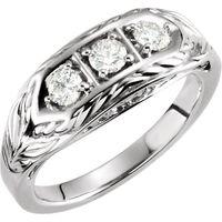 14K White 1/2 CTW Diamond 3-Stone Ring