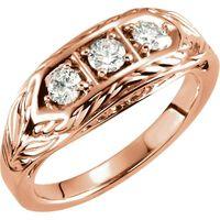 14K Rose 1/2 CTW Diamond 3-Stone Ring