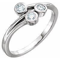 14K White 1/3 CTW Diamond Three-Stone Bezel-Set Ring