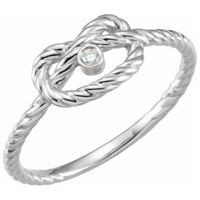 Platinum .025 CTW Diamond Rope Knot Ring