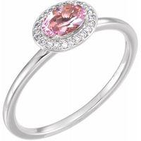 Platinum Morganite & .06 CTW Diamond Ring