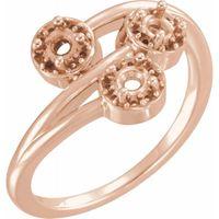 14K Rose 3/8 CTW Diamond Halo-Style Three-Stone Ring