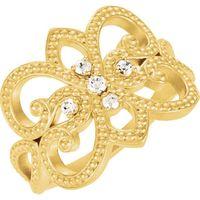 14K Yellow 1/8 CTW Diamond Granulated Design Ring