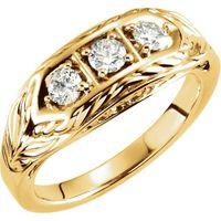14K Yellow 1/2 CTW Diamond 3-Stone Ring