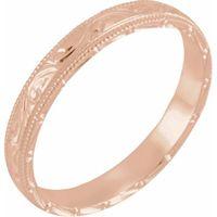 14K Rose 3 mm Design-Engraved Milgrain Band
