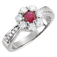 14K White Ruby & 3/4 CTW Diamond Cluster Ring