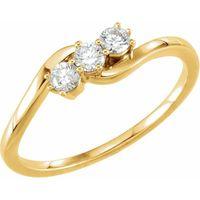 14K Yellow 1/4 CTW Diamond Three-Stone Ring