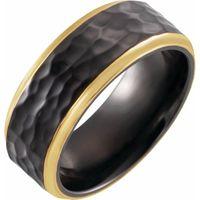 18K Yellow Gold PVD Black Titanium 8 mm Flat