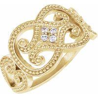 14K Yellow .05 CTW Diamond Granulated Ring
