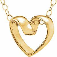 14K Yellow Ribbon Heart 15 Necklace