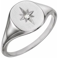 Platinum .02 CTW Diamond 11x10 Oval Starburst Signet Ring