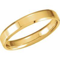 14K Yellow 4 mm Beveled-Edge Band