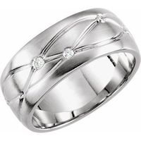 14K White 1/5 CTW Diamond Grooved 8 mm Band