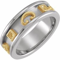 14K White/Yellow Grooved Etruscan-Style Band