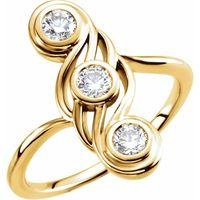 14K Yellow 1/2 CTW Diamond Three-Stone Ring