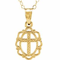 14K Yellow Framed Cross 15 Necklace