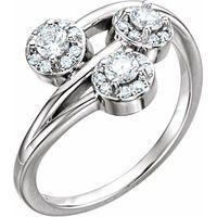 14K White 3/8 CTW Diamond Halo-Style Three-Stone Ring
