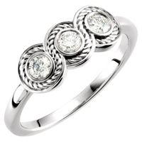 14K White 1/3 CTW Diamond Three-Stone Ring