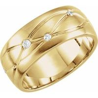 14K Yellow 1/5 CTW Diamond Grooved 8 mm Band
