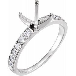 14K White 5.75x5.75 mm Square 3/8 CTW Diamond Semi-Set Engagement Ring