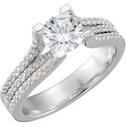 14K Yellow/White 6.5 mm Round 1/3 CTW Diamond Semi-Set Engagement Ring