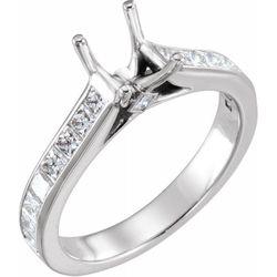 14K White 6x6 mm Square 7/8 CTW Diamond Semi-Set Engagement Ring