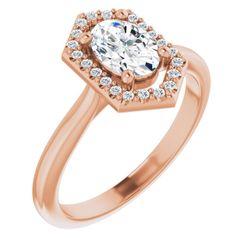 14K Rose 7x5 mm Oval .08 CTW Diamond Semi-Set Engagement Ring