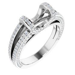 Platinum 6.5 mm Round 3/4 CTW Diamond Semi-Set Engagement Ring