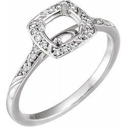 Platinum 5.8 mm Round 1/10 CTW Diamond Semi-Set Engagement Ring