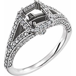 14K White 5.5 mm Square 1/2 CTW Diamond Semi-Set Halo-Style Engagement Ring