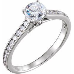 14K Yellow 7.4 mm Round 5/8 CTW Diamond Semi-Set Engagement Ring