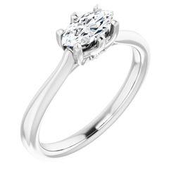 14K White 8x4 mm Marquise .03 CTW Diamond Semi-Set Engagement Ring