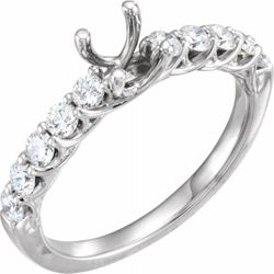 14K White 5.8 mm Round 5/8 CTW Diamond Semi-Set Engagement Ring