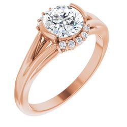 14K Rose 6.5 mm Round .07 CTW Diamond Semi-Set Halo-Style Engagement Ring