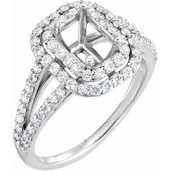Platinum 3/4 CTW Diamond Semi-Set Engagement Ring for 7x5 mm Emerald Center
