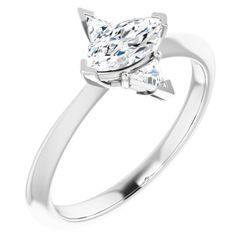 14K White 8x4 mm Marquise 1/5 CTW Diamond Semi-Set Engagement Ring