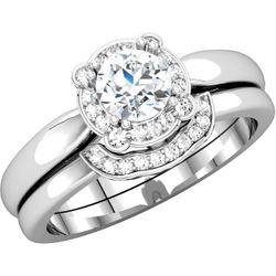 14K Yellow 5.8 mm Round 1/10 CTW Diamond Semi-Set Engagement Ring