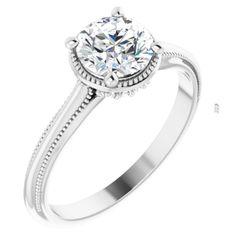 14K White 6.5 mm Round .07 CTW Diamond Semi-Set Engagement Ring