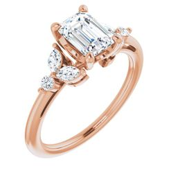 14K Rose 7x5 mm Emerald 1/4 CTW Diamond Semi-Set Engagement Ring