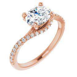 14K Rose 8x6 mm Oval 1/5 CTW Diamond Semi-Set Bypass Engagement Ring