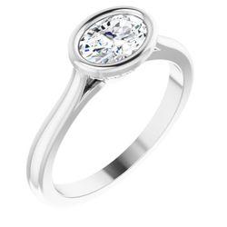 14K White 7x5 mm Oval .05 CTW Diamond Semi-Set Engagement Ring