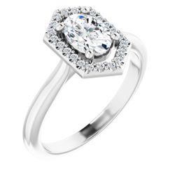 Platinum 7x5 mm Oval .08 CTW Diamond Semi-Set Engagement Ring