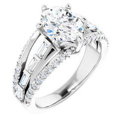 14K White 9x7 mm Oval 3/4 CTW Diamond Semi-Set Engagement Ring